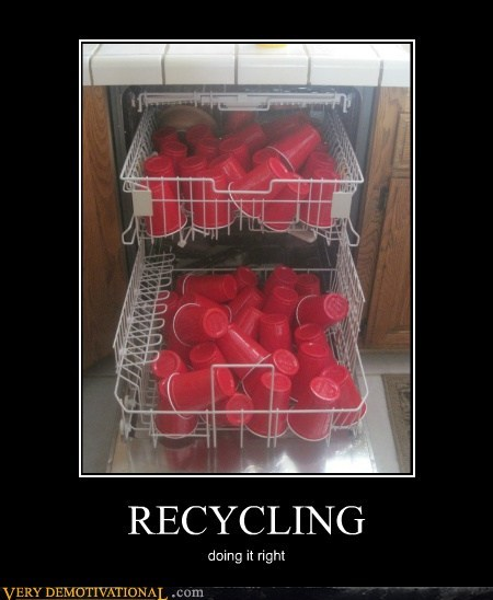 hilarious,plastic cups,recycling,washing