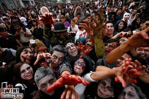 brains,marathon,nerdgasm,record,undead,walk,zombie