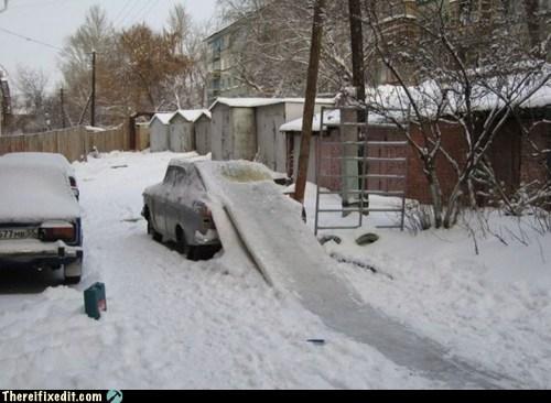 cars,dual use,jump,ramp,winter