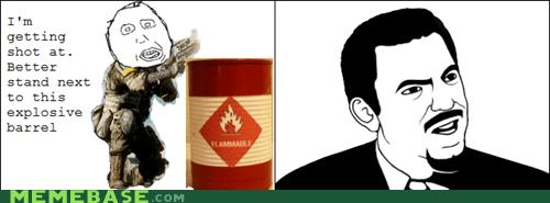 barrel,explosive,guns,logic,Rage Comics,shot