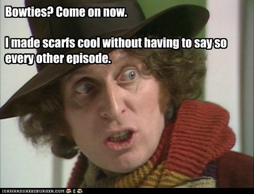 annoyed,bowties,cool,doctor who,episode,scarfs,the doctor,tom baker
