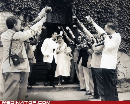 bride,cameras,flashbulbs,funny wedding photos,groom,Hall of Fame,Historical,paparazzi,photographer,retro,vintage