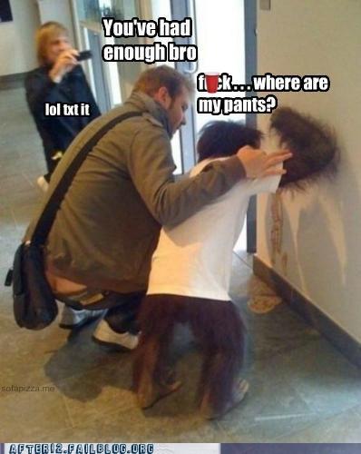 bro,chimpanzee,crunk critters,enough,lol text it,monkey,pants,vomiting