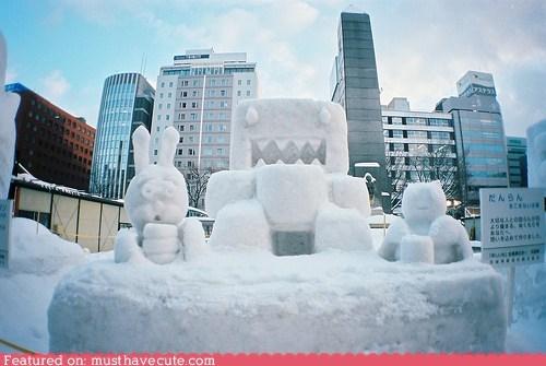 city,domo,domokun,sculpture,snow,snowman