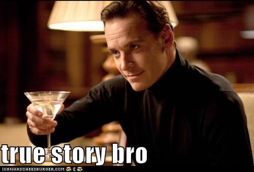 alcohol,bro,drinking,martinis,michael fassbender,true story,x men