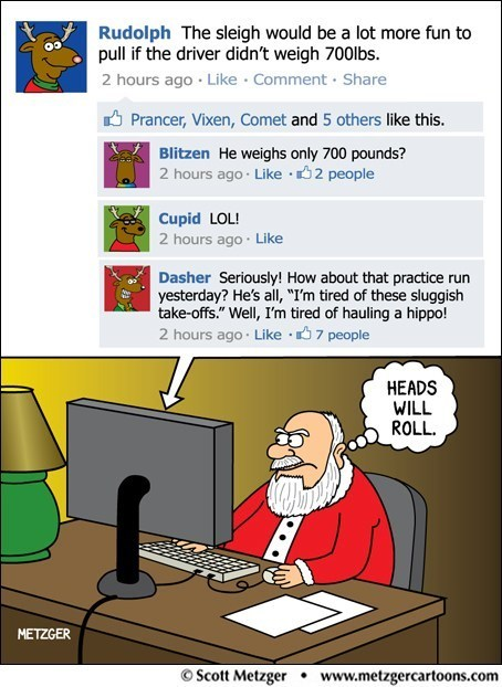Sketchy Santas: He Knows When You've Been Facebook Gossiping