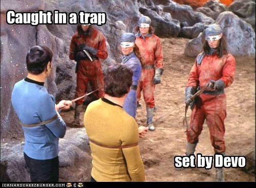Captain Kirk,Devo,Leonard Nimoy,Spock,Star Trek,trap,William Shatner