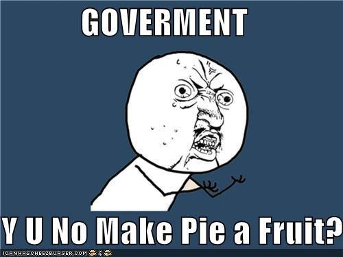 fruit,government,pie,pizza,vegetable,Y U No Guy