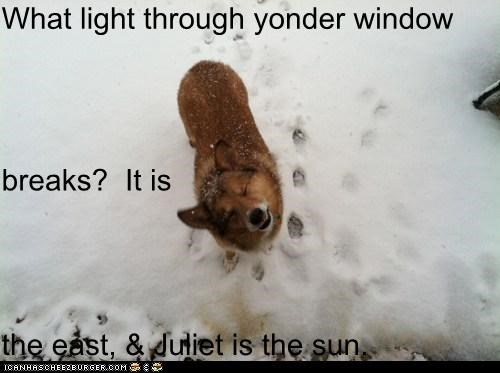 What light through yonder window breaks?  It is the east, & Juliet is the sun.