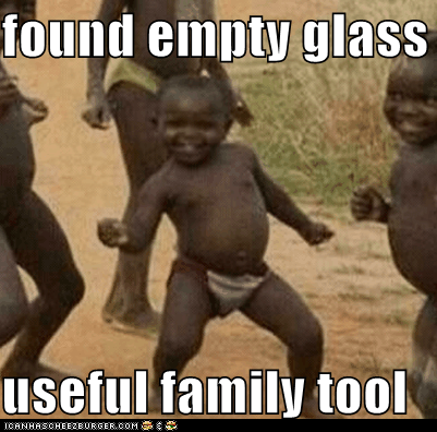 found empty glass bottle  useful family tool