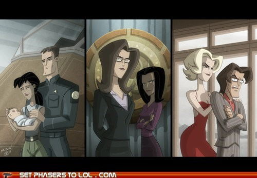 animated series,apollo,art,Battlestar Galactica,BSG,cartoons,cylons,number six,toasters,william adama