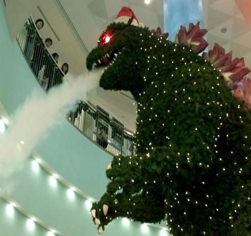 christmas decorations,christmas tree,godzilla,Gojira,g rated,Hall of Fame,oh Japan,pop culture,sketchy santas,who will save our village