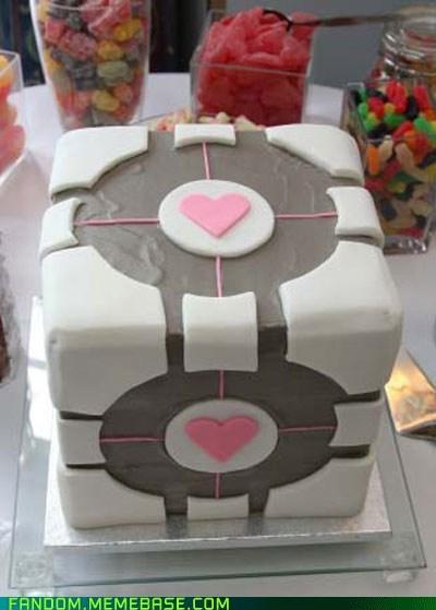 cake,companion cube,FanArt,noms,Portal,video games