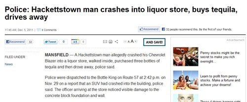 Booze News: New Jersey Drivers, Am I Right?