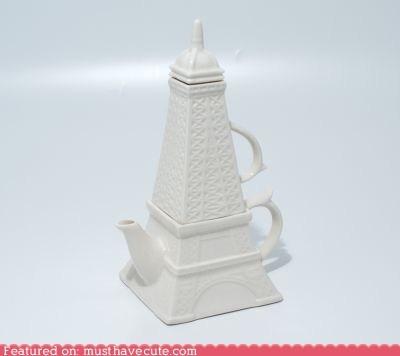 ceramic,eiffel tower,gift guide,paris,set,teacup,teapot