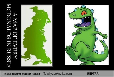 This Sideways Map of Russia Totally Looks Like REPTAR