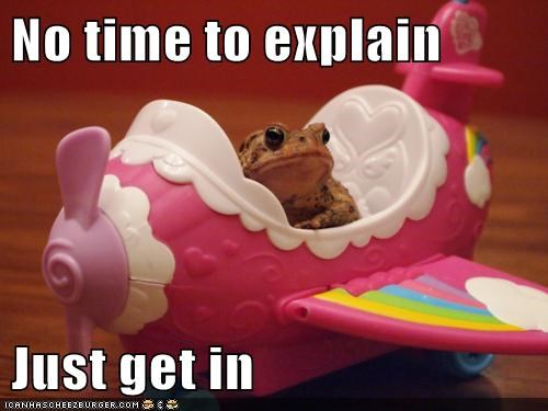 caption,captioned,frog,get in,meme,no time to explain,plane,toy