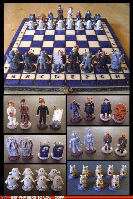 Captain Jack Harkness,chess,clay,daleks,doctor who,face of boe,fan art,ood,river song,the doctor,weeping angels