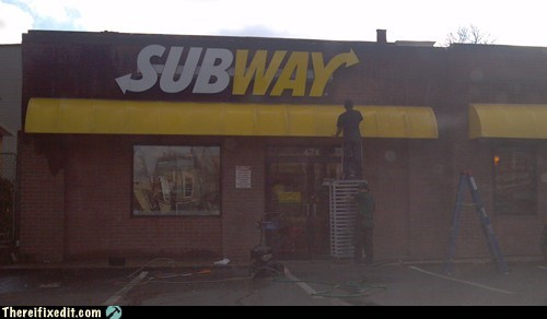 ladder,Professional At Work,stupidity,Subway