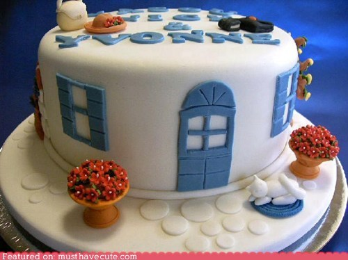 blue,cake,cat,epicute,flowers,fondant,house,white