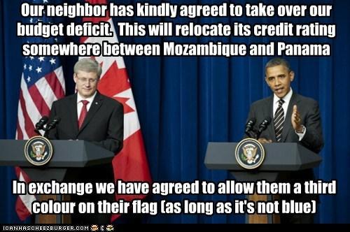 america,barack obama,Canada,debt,political pictures,stephen harper,usa