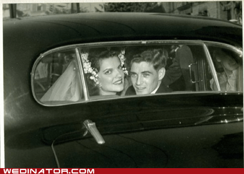 bride,car,funny wedding photos,groom,Historical,retro,vintage