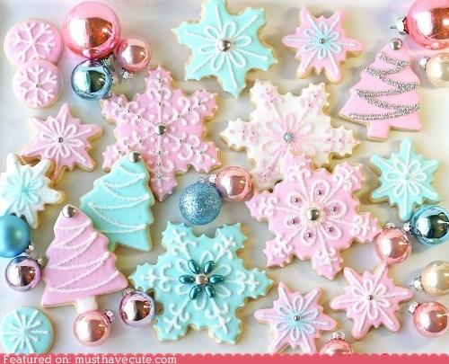 best of the week,christmas,cookies,epicute,holiday,icing,Pastel,snowflakes,trees