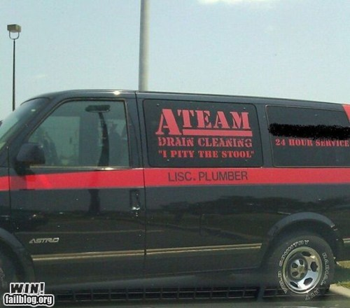 A Team,business,clever,Hall of Fame,mr t,plumbing,slogan,van