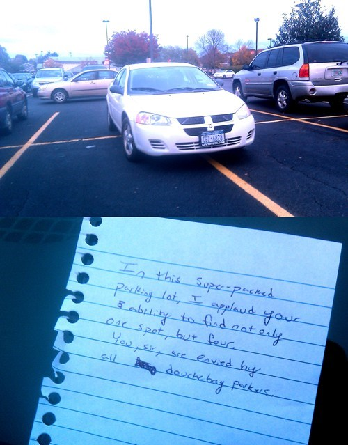 FAIL Nation: Douchebag Parker, Meet Douchebag Note Writer