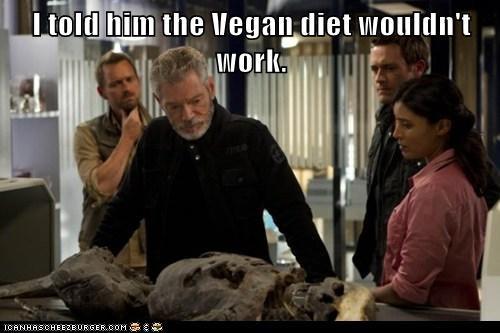 commander taylor,diet,doctor elisabeth shannon,jason-omara,jim shannon,Stephen Lang,terra nova,vegan