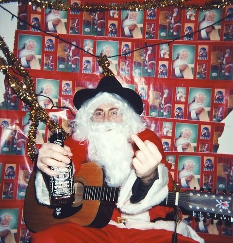 alcohol,drinking,middle finger,santa,the bird