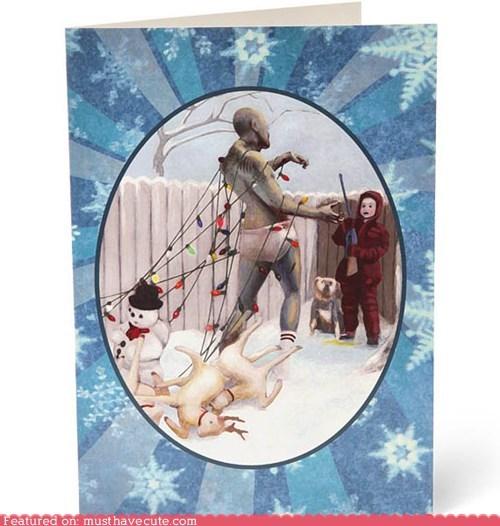 card,christmas,festive,zombie