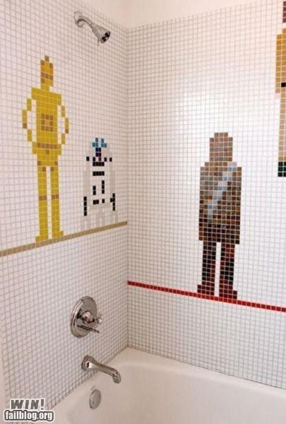 bathroom,C-3PO,chewbacca,design,nerdgasm,r2d2,star wars,tile