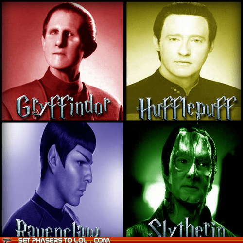 cardassian,data,gryffindor,Hogwarts,houses,hufflepuff,odo,ravenclaw,slytherin,sorting hat,Spock,Star Trek