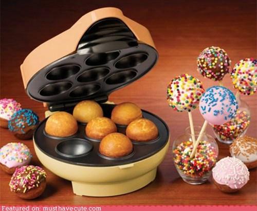 cake,cake pops,donut holes,epicute,gadget,machine,sprinkles