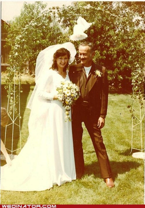 70s,bride,Father,father of the bride,funny wedding photos