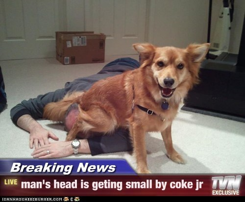 Breaking News - man's head is geting small by coke jr