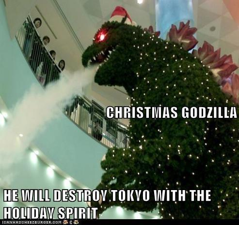 christmas tree,destroy,godzilla,holiday,Spirit,tokyo