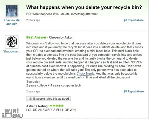 computers,delete,recycle bin,Yahoo Answer Fails
