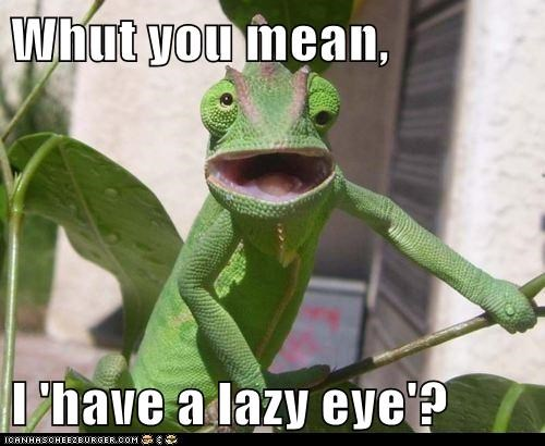 Whut you mean,  I 'have a lazy eye'?