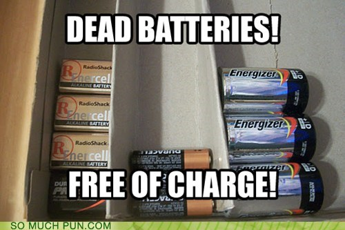 batteries,battery,charge,dead,double meaning,free,literalism
