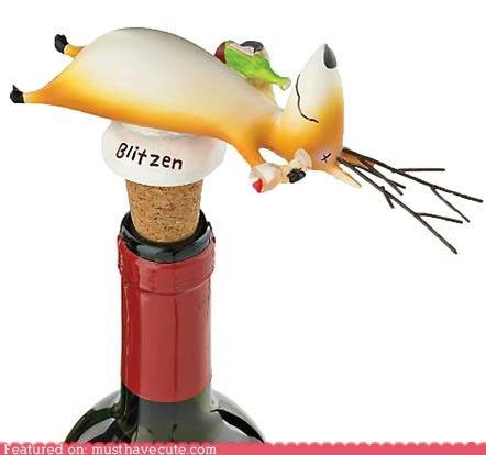 Blitzen on His Back Bottle Stopper