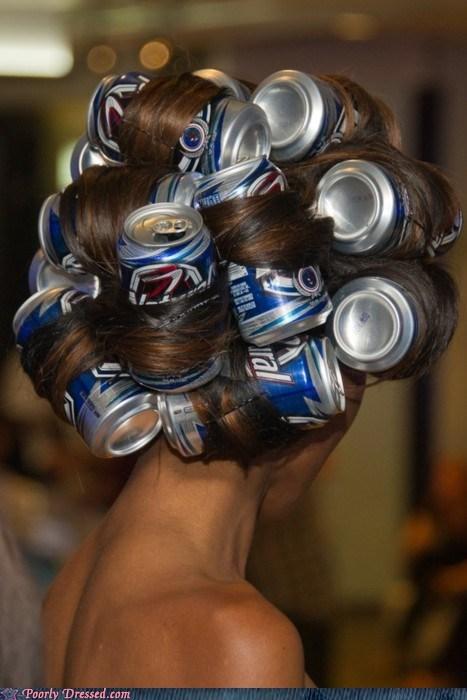 bad hair,beer cans,hair curlers