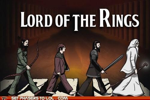 abbey road,aragorn,frodo,gandalf,legolas,Lord of the Rings,the Beatles