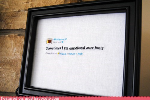 deep thoughts,kanye west,needlepoint,twitter