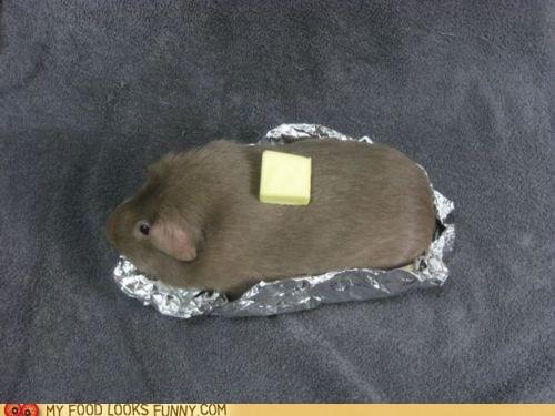 baked,butter,foil,guinea pig,potato
