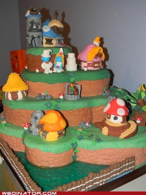 cake,cake toppers,funny wedding photos,Hall of Fame,smurfette,smurfs,wedding cake