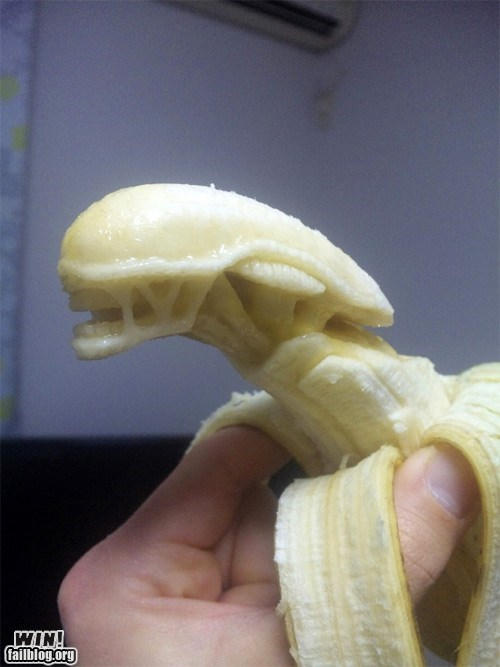 alien,banana,carving,food,fruit,g rated,nerdgasm,sci fi,win