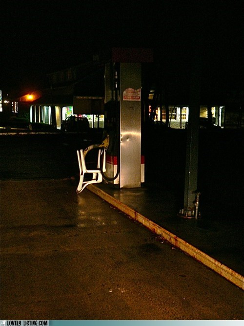 chair,gas station,upside down