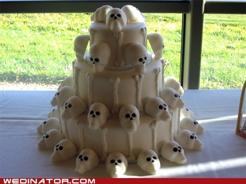 cakes,funny wedding photos,Hall of Fame,skulls,wedding cake
